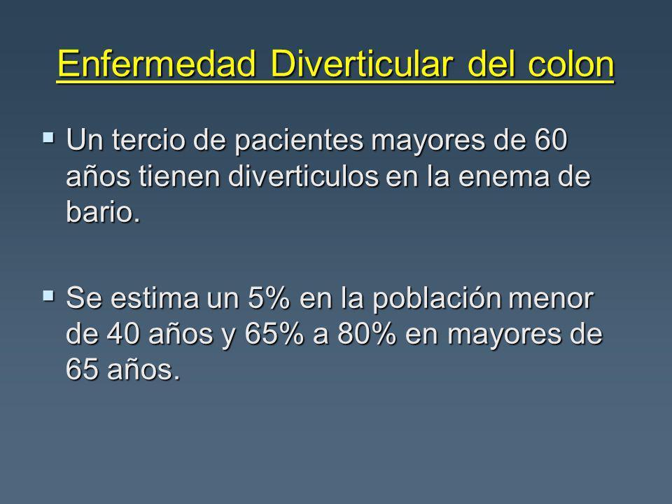 Enfermedad Diverticular del colon Un tercio de pacientes mayores de 60 años tienen diverticulos en la enema de bario. Un tercio de pacientes mayores d