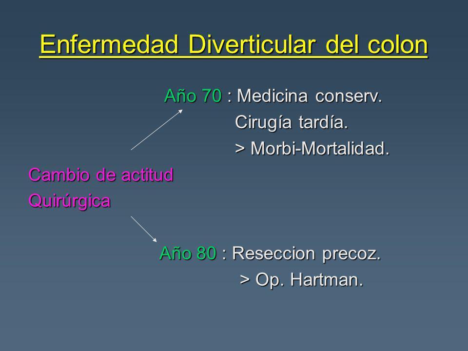 Enfermedad Diverticular del colon Año 70 : Medicina conserv. Año 70 : Medicina conserv. Cirugía tardía. Cirugía tardía. > Morbi-Mortalidad. > Morbi-Mo