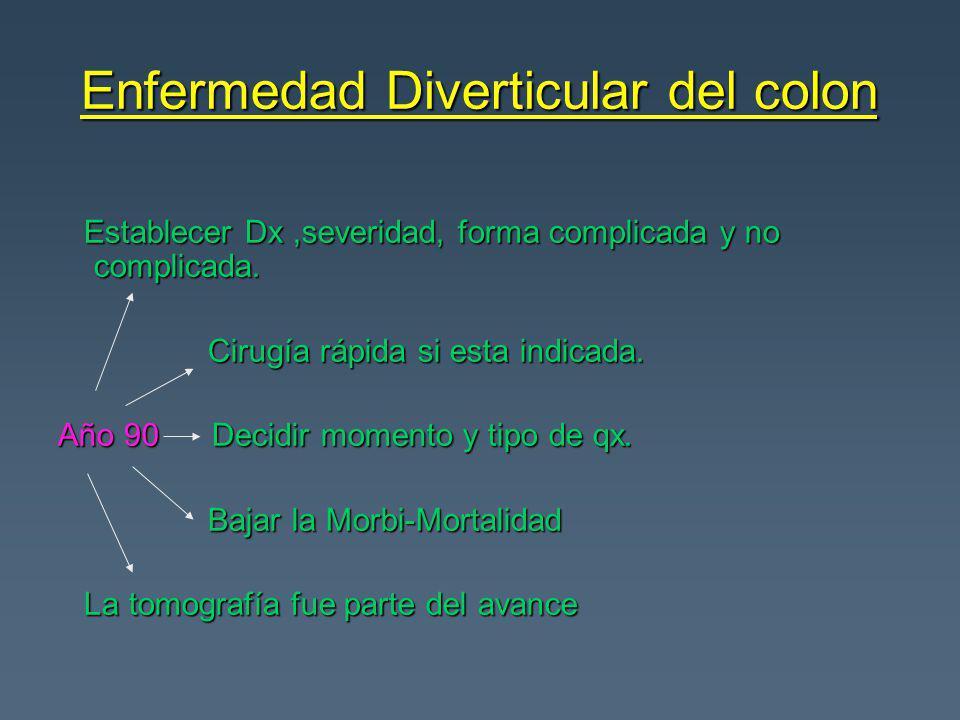 Enfermedad Diverticular del colon Establecer Dx,severidad, forma complicada y no complicada. Establecer Dx,severidad, forma complicada y no complicada