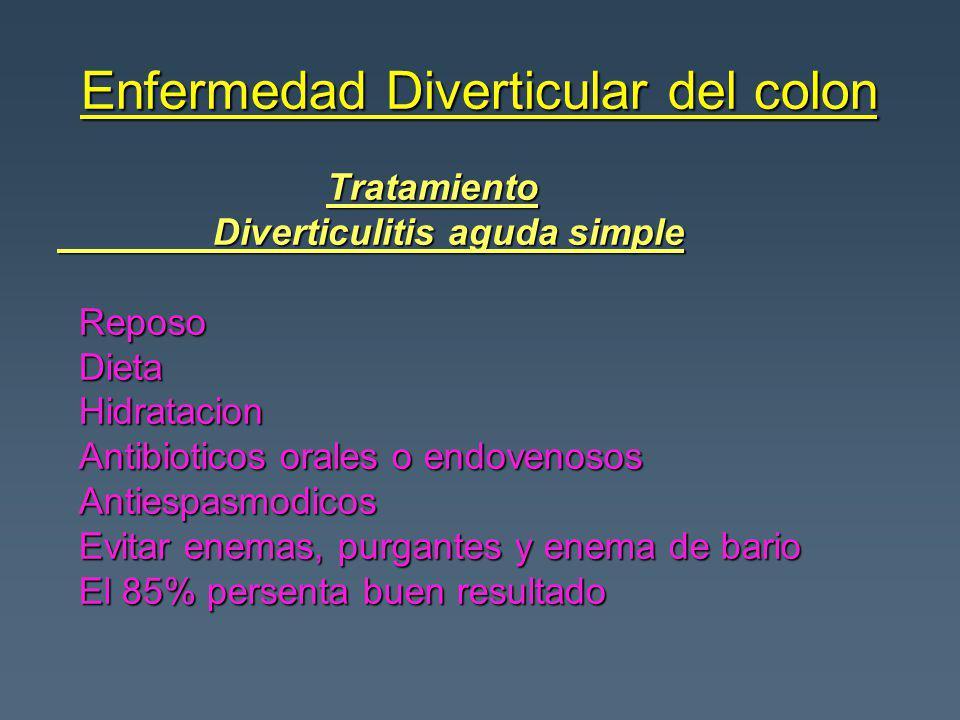 Enfermedad Diverticular del colon Tratamiento Tratamiento Diverticulitis aguda simple Diverticulitis aguda simple Reposo Reposo Dieta Dieta Hidratacio