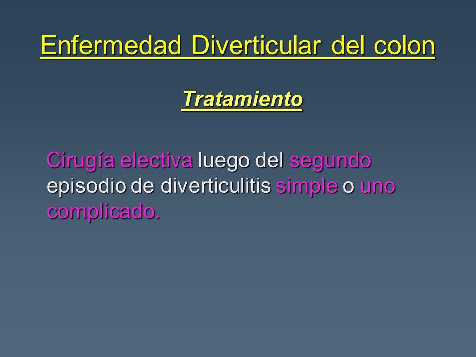 Enfermedad Diverticular del colon Tratamiento Tratamiento Cirugía electiva luego del segundo episodio de diverticulitis simple o uno complicado. Cirug