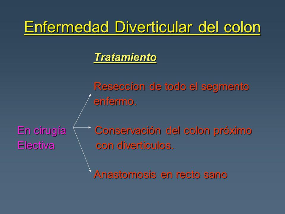 Enfermedad Diverticular del colon Tratamiento Tratamiento Reseccíon de todo el segmento Reseccíon de todo el segmento enfermo. enfermo. En cirugía Con