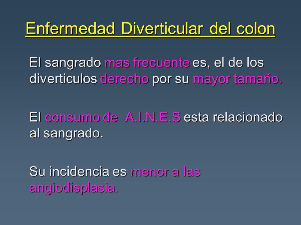 Enfermedad Diverticular del colon El sangrado mas frecuente es, el de los diverticulos derecho por su mayor tamaño.