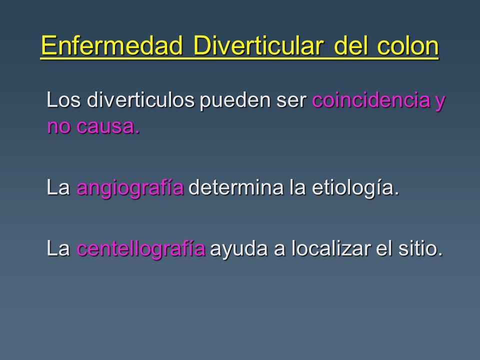 Enfermedad Diverticular del colon Los diverticulos pueden ser coincidencia y no causa. Los diverticulos pueden ser coincidencia y no causa. La angiogr