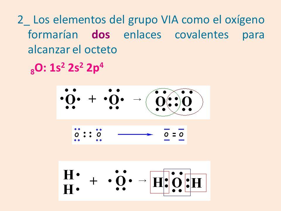 2_ Los elementos del grupo VIA como el oxígeno formarían dos enlaces covalentes para alcanzar el octeto 8 O: 1s 2 2s 2 2p 4