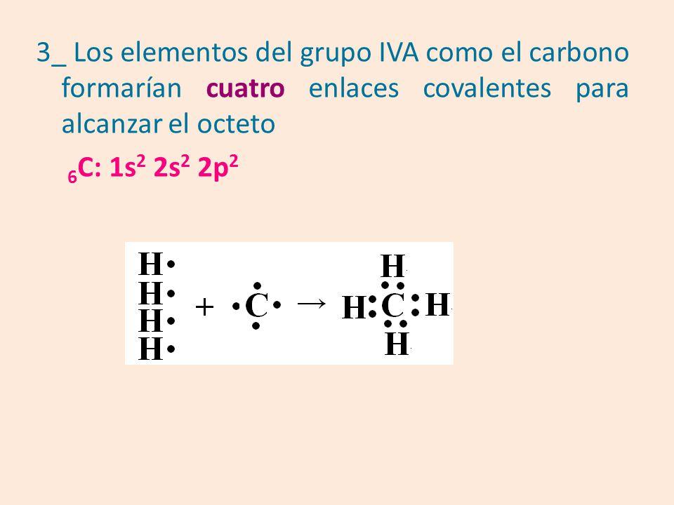 3_ Los elementos del grupo IVA como el carbono formarían cuatro enlaces covalentes para alcanzar el octeto 6 C: 1s 2 2s 2 2p 2