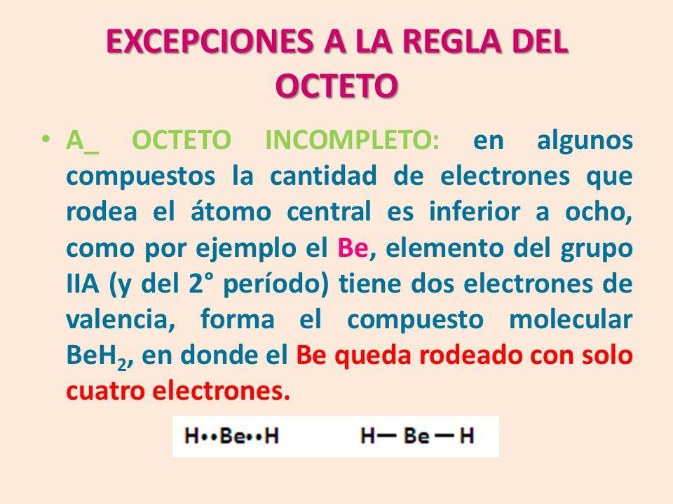 EXCEPCIONES A LA REGLA DEL OCTETO A_ OCTETO INCOMPLETO: en algunos compuestos la cantidad de electrones que rodea el átomo central es inferior a ocho, como por ejemplo el Be, elemento del grupo IIA (y del 2° período) tiene dos electrones de valencia, forma el compuesto molecular BeH 2, en donde el Be queda rodeado con solo cuatro electrones.