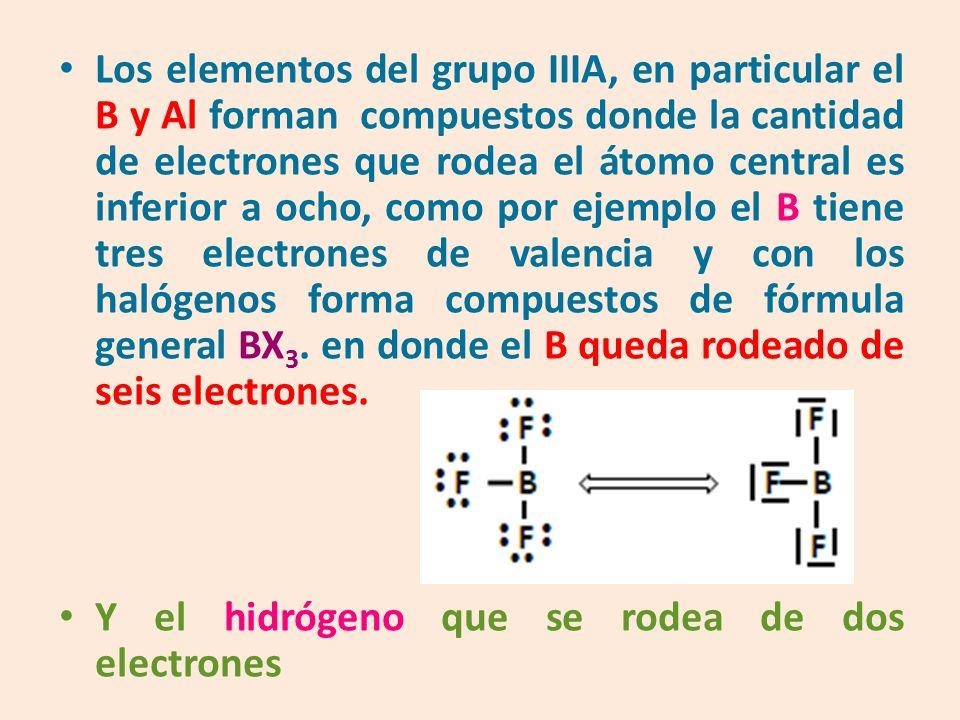Los elementos del grupo IIIA, en particular el B y Al forman compuestos donde la cantidad de electrones que rodea el átomo central es inferior a ocho, como por ejemplo el B tiene tres electrones de valencia y con los halógenos forma compuestos de fórmula general BX 3.