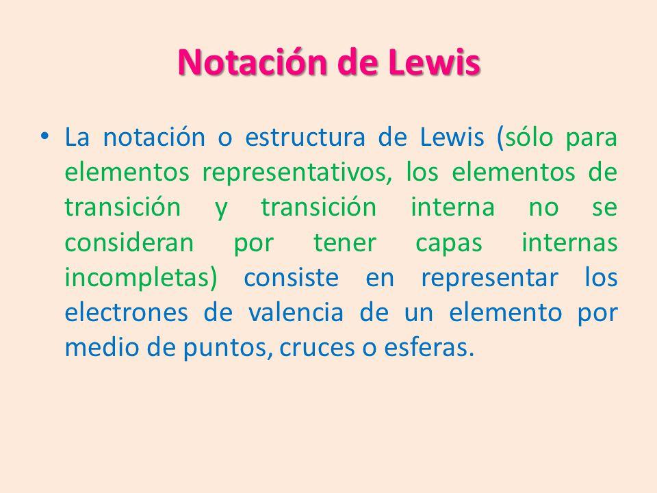 Notación de Lewis La notación o estructura de Lewis (sólo para elementos representativos, los elementos de transición y transición interna no se consideran por tener capas internas incompletas) consiste en representar los electrones de valencia de un elemento por medio de puntos, cruces o esferas.