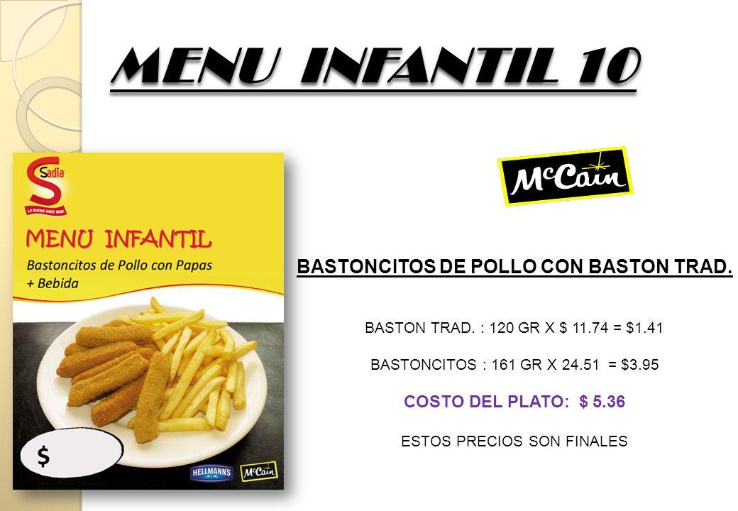 MENU INFANTIL 10 BASTONCITOS DE POLLO CON BASTON TRAD. BASTON TRAD. : 120 GR X $ 11.74 = $1.41 BASTONCITOS : 161 GR X 24.51 = $3.95 COSTO DEL PLATO: $