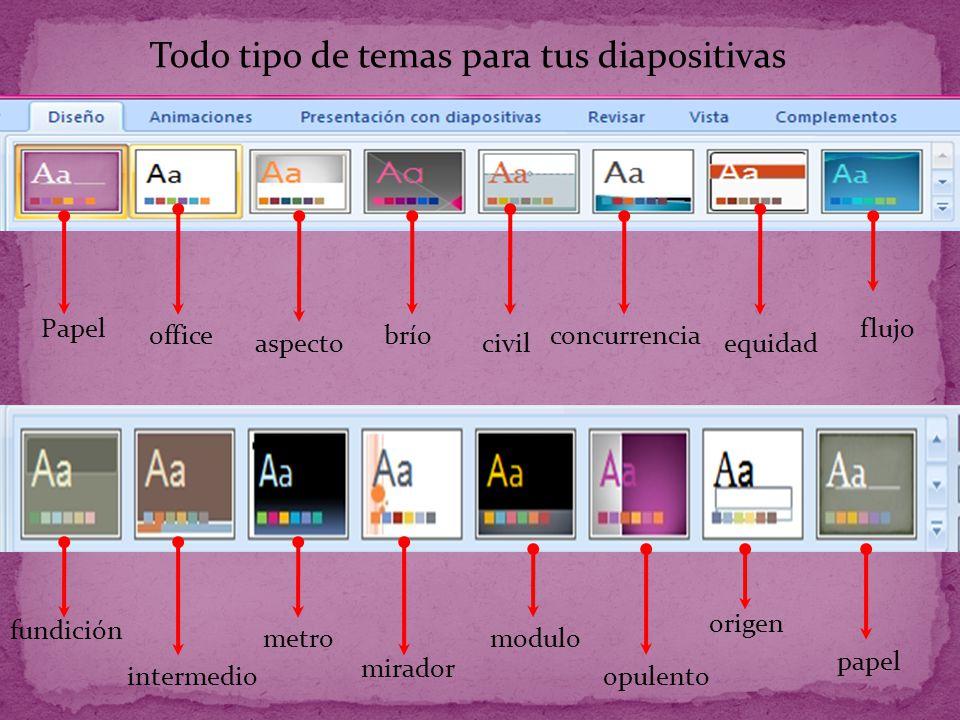 Todo tipo de temas para tus diapositivas Papel office aspecto brío civil concurrencia equidad flujo fundición intermedio metro mirador modulo opulento origen papel