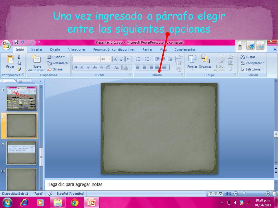 Se utiliza para alinear el texto a la izquierda Se utiliza para centrar el texto se utiliza para alinear el texto a la derecha Se utiliza para alinear el texto en los márgenes izquierdo y derecho y agrega espacios adicionales entre palabras.