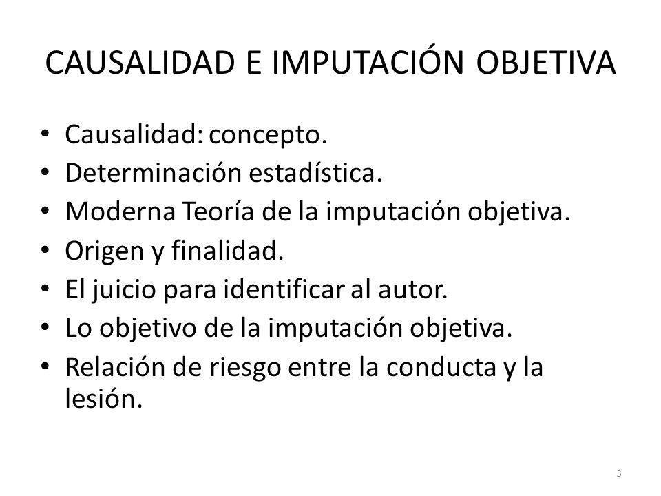3 CAUSALIDAD E IMPUTACIÓN OBJETIVA Causalidad: concepto. Determinación estadística. Moderna Teoría de la imputación objetiva. Origen y finalidad. El j