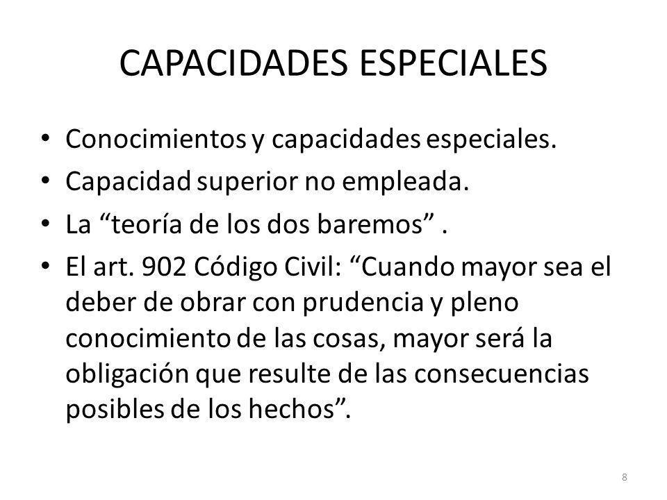 8 CAPACIDADES ESPECIALES Conocimientos y capacidades especiales. Capacidad superior no empleada. La teoría de los dos baremos. El art. 902 Código Civi
