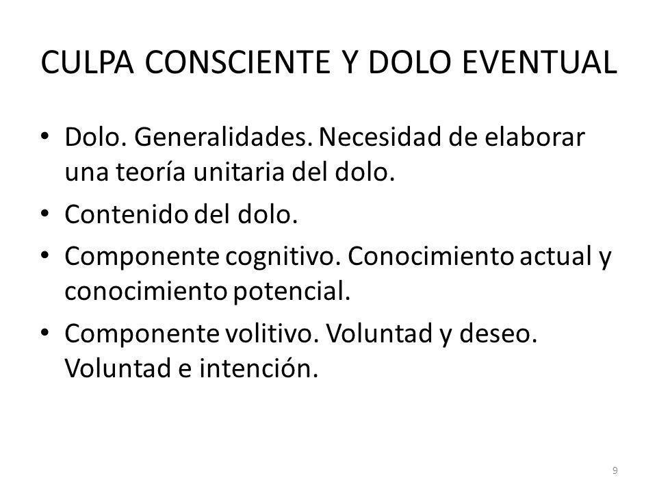 9 CULPA CONSCIENTE Y DOLO EVENTUAL Dolo. Generalidades. Necesidad de elaborar una teoría unitaria del dolo. Contenido del dolo. Componente cognitivo.
