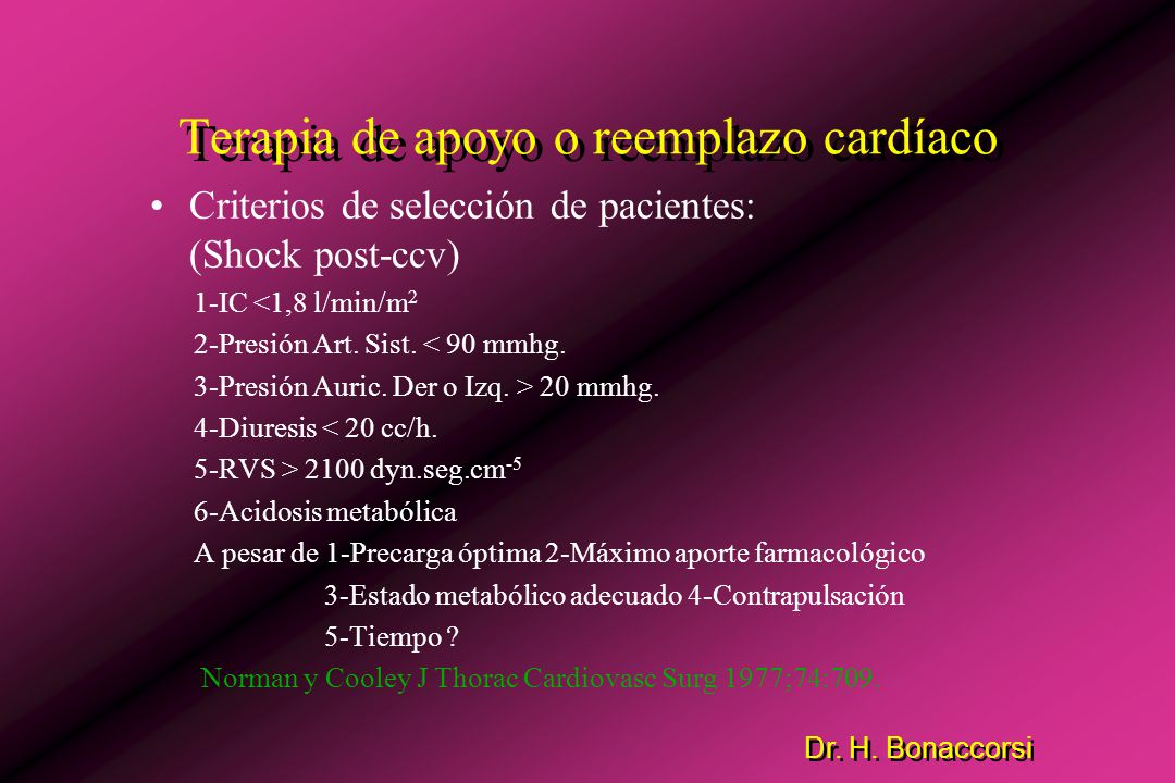Dr. H. Bonaccorsi Terapia de apoyo o reemplazo cardíaco Indicaciones: 1-Shock Cardiogénico post-ccv 2- por deterioro miocárdico agudo, con o sin IAM.