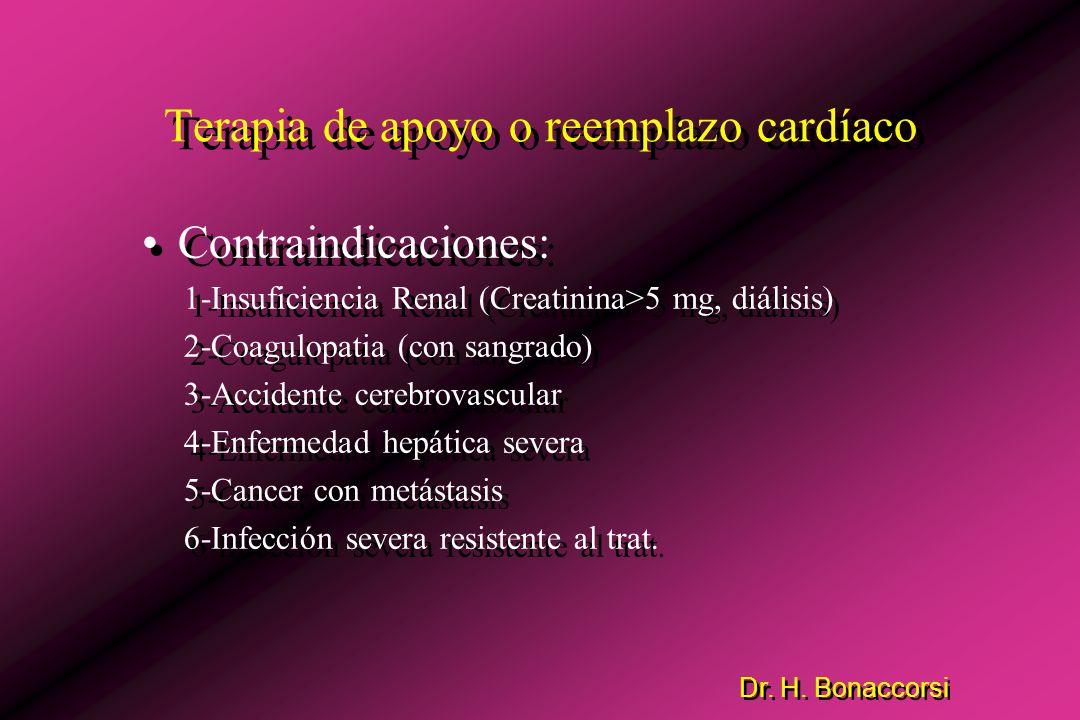 Dr. H. Bonaccorsi Terapia de apoyo o reemplazo cardíaco Objetivos: 1-Disminuir el trabajo cardíaco. 2-Mantener adecuada perfusión de órganos vitales.