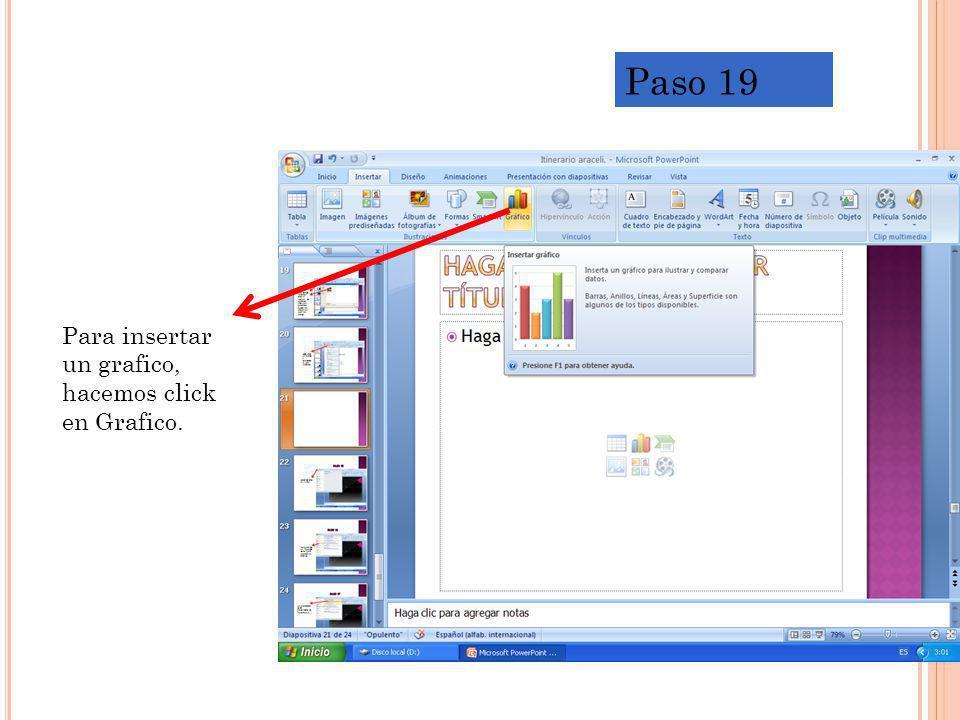 Para insertar un grafico, hacemos click en Grafico. Paso 19