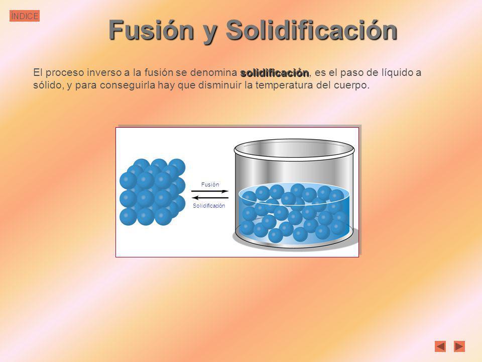ÍNDICE Fusión y Solidificación fusión La fusión es el paso de sólido a líquido. Para conseguirla hay que aumentar la temperatura del sólido. Al calent
