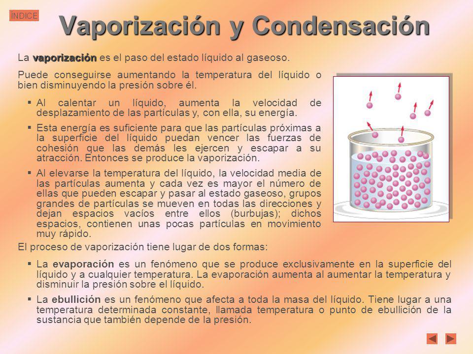 ÍNDICEFusión Durante la fusión, la energía calorífica se emplea en romper las fuerzas atractivas entre las moléculas, no en aumentar la temperatura qu