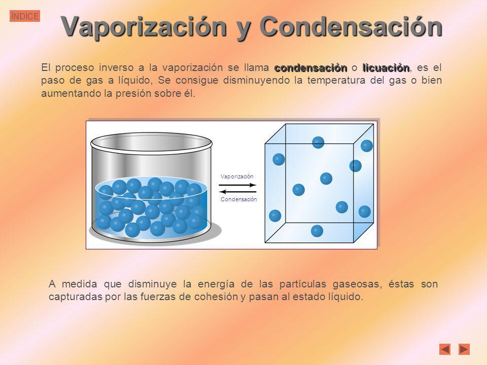 ÍNDICE Vaporización y Condensación El proceso de vaporización tiene lugar de dos formas: La evaporación es un fenómeno que se produce exclusivamente e