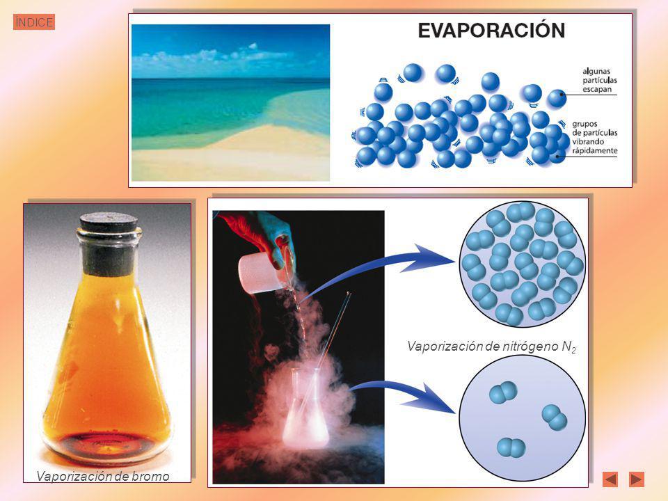 ÍNDICE Vaporización y Condensación condensación licuación El proceso inverso a la vaporización se llama condensación o licuación, es el paso de gas a