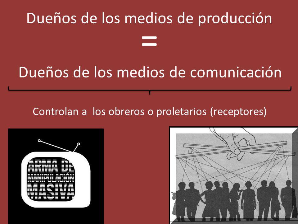 Dueños de los medios de producción = Dueños de los medios de comunicación Controlan a los obreros o proletarios (receptores)