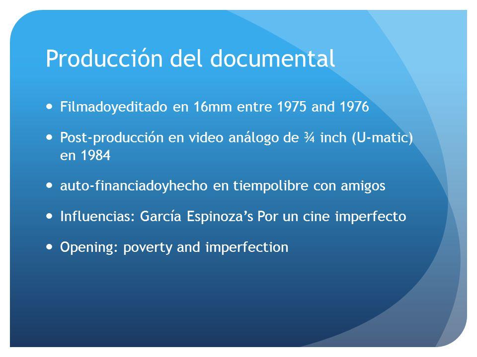 Producción del documental Filmadoyeditado en 16mm entre 1975 and 1976 Post-producción en video análogo de ¾ inch (U-matic) en 1984 auto-financiadoyhec