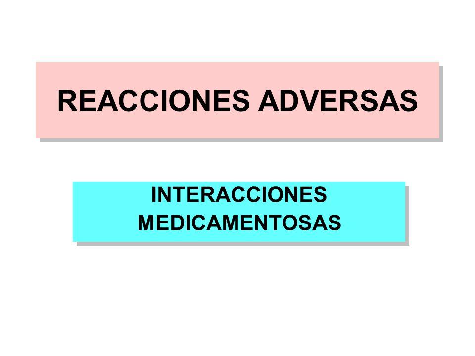 REACCIONES ADVERSAS INTERACCIONES MEDICAMENTOSAS INTERACCIONES MEDICAMENTOSAS