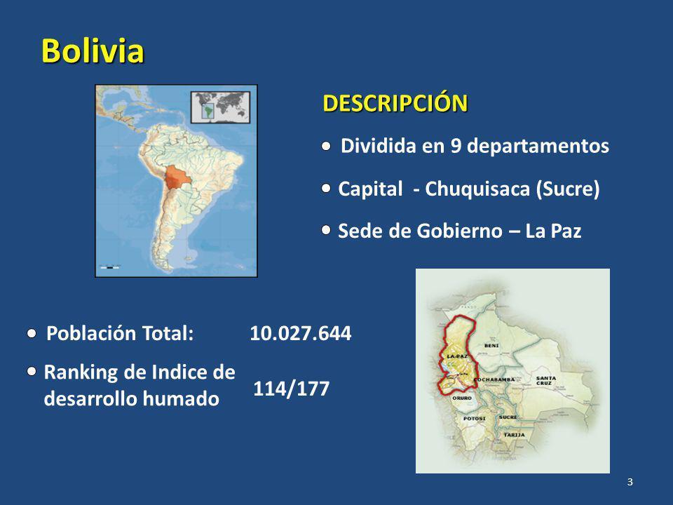 Bolivia Población Total: 10.027.644 Ranking de Indice de desarrollo humado 114/177 DESCRIPCIÓN Dividida en 9 departamentos Capital - Chuquisaca (Sucre) Sede de Gobierno – La Paz 3