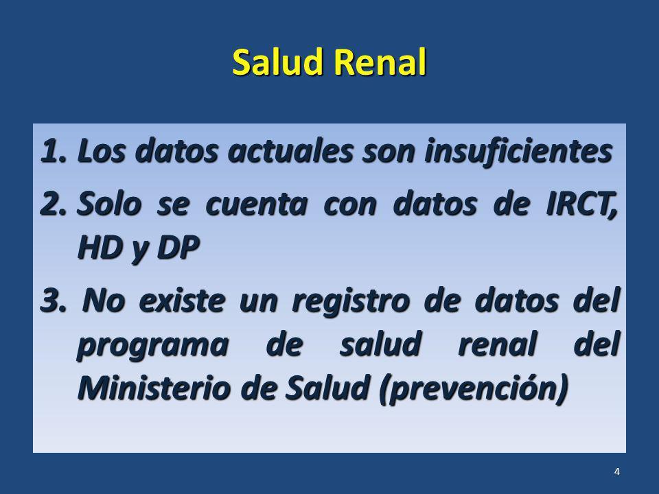 Salud Renal 1.Los datos actuales son insuficientes 2.Solo se cuenta con datos de IRCT, HD y DP 3. No existe un registro de datos del programa de salud