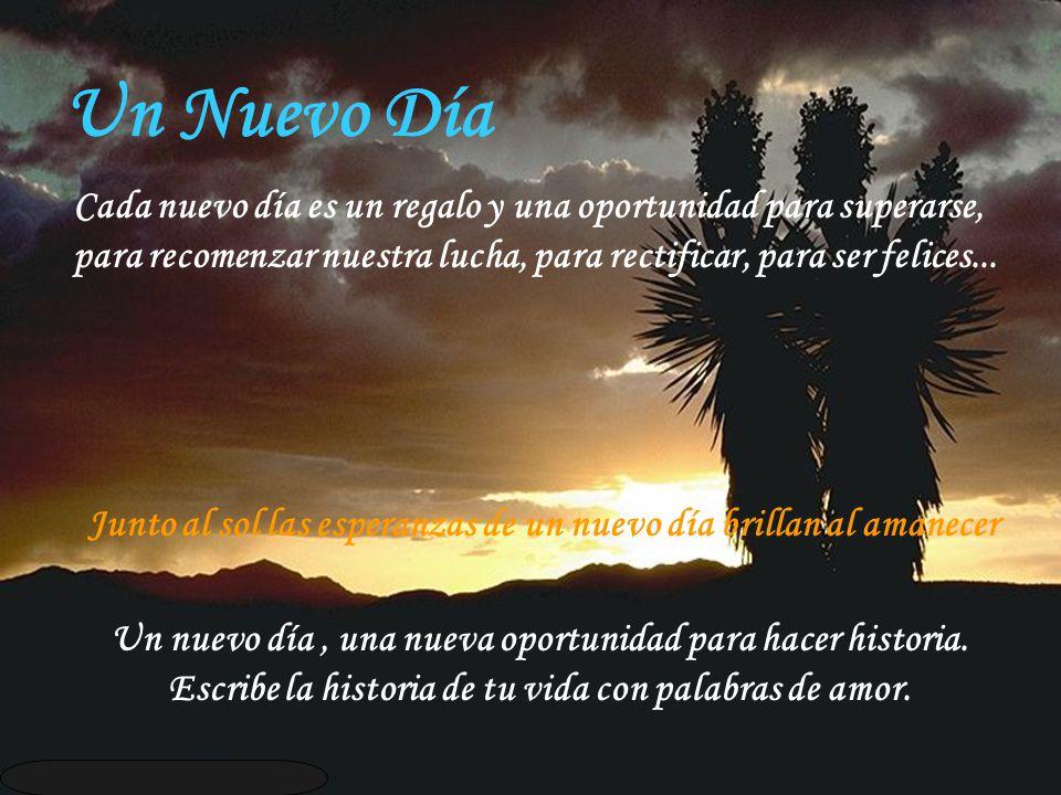 Un Nuevo Día Cada nuevo día es un regalo y una oportunidad para superarse, para recomenzar nuestra lucha, para rectificar, para ser felices...