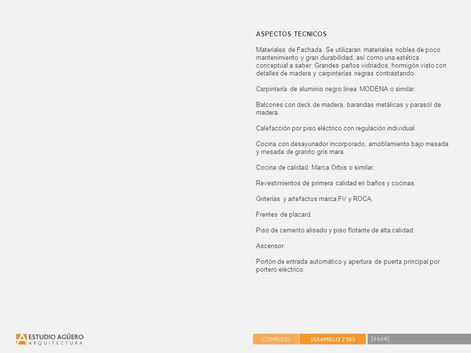 ASPECTOS TECNICOS Materiales de Fachada.
