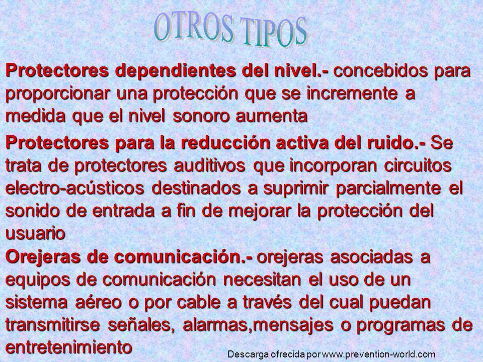 Protectores dependientes del nivel.- nivel.- concebidos para proporcionar una protección que se incremente a medida que el nivel sonoro aumenta Protec