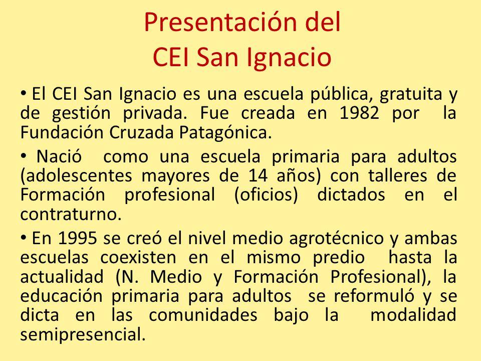 Presentación del CEI San Ignacio El CEI San Ignacio es una escuela pública, gratuita y de gestión privada. Fue creada en 1982 por la Fundación Cruzada