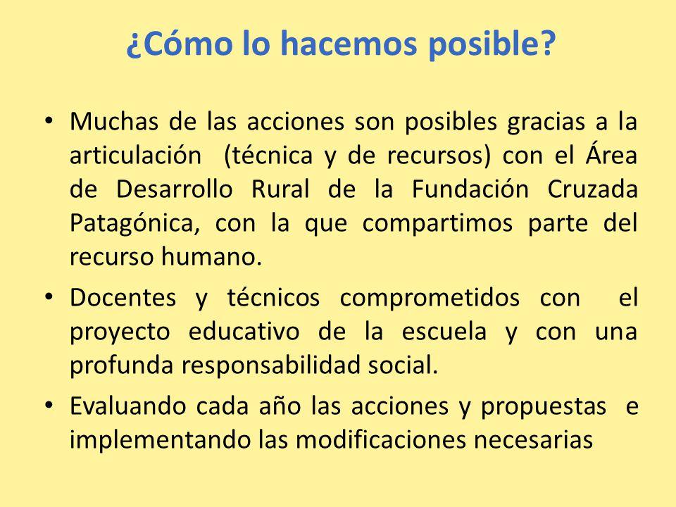 ¿Cómo lo hacemos posible? Muchas de las acciones son posibles gracias a la articulación (técnica y de recursos) con el Área de Desarrollo Rural de la