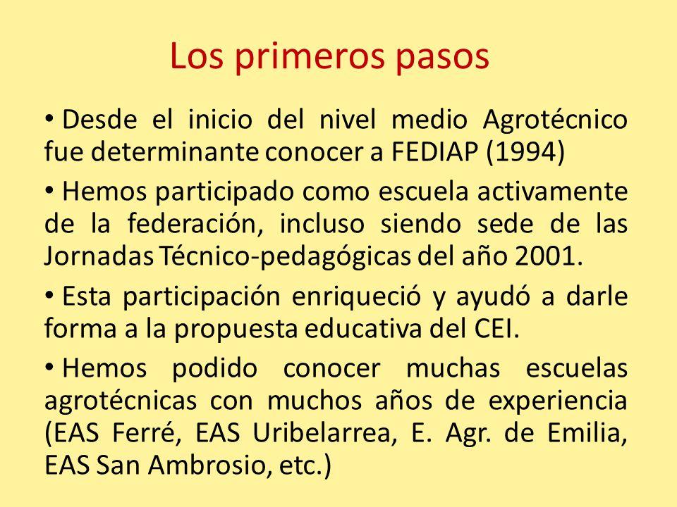Los primeros pasos Desde el inicio del nivel medio Agrotécnico fue determinante conocer a FEDIAP (1994) Hemos participado como escuela activamente de