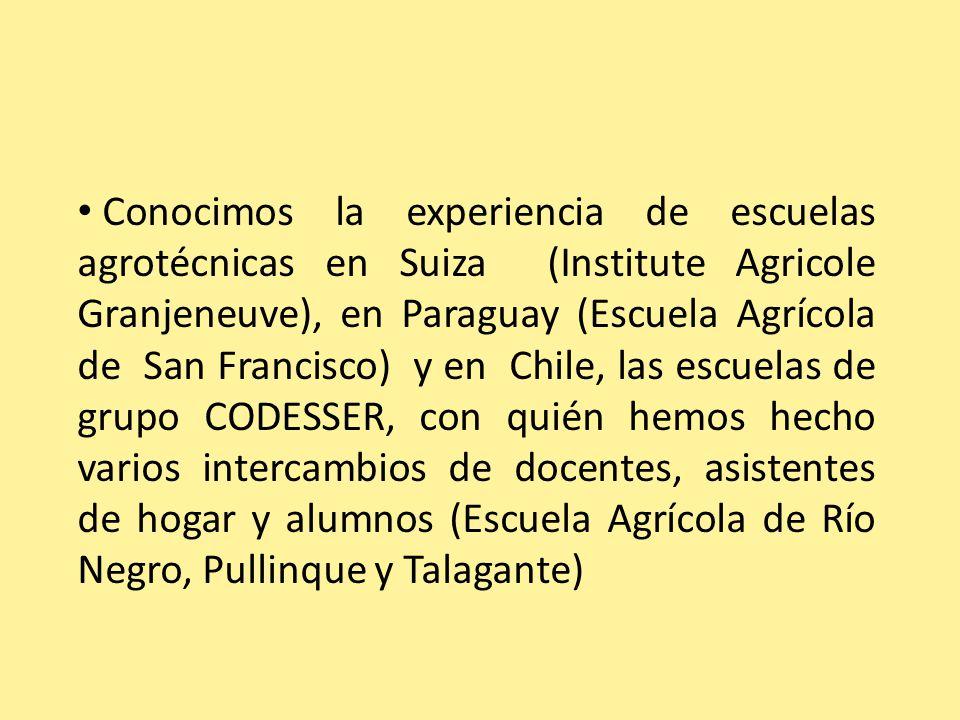 Conocimos la experiencia de escuelas agrotécnicas en Suiza (Institute Agricole Granjeneuve), en Paraguay (Escuela Agrícola de San Francisco) y en Chil