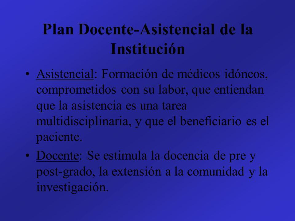 Plan Docente-Asistencial de la Institución Asistencial: Formación de médicos idóneos, comprometidos con su labor, que entiendan que la asistencia es una tarea multidisciplinaria, y que el beneficiario es el paciente.
