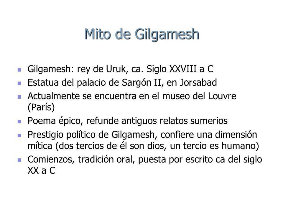 Mito de Gilgamesh Gilgamesh: rey de Uruk, ca.Siglo XXVIII a C Gilgamesh: rey de Uruk, ca.