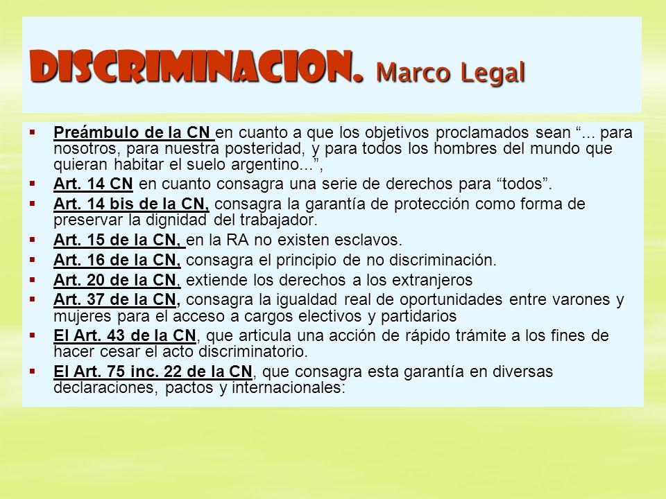 DISCRIMINACION. Marco Legal Preámbulo de la CN en cuanto a que los objetivos proclamados sean... para nosotros, para nuestra posteridad, y para todos