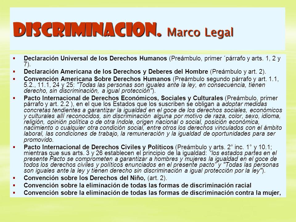 DISCRIMINACION. Marco Legal Declaración Universal de los Derechos Humanos (Preámbulo, primer ´párrafo y arts. 1, 2 y 7). Declaración Universal de los