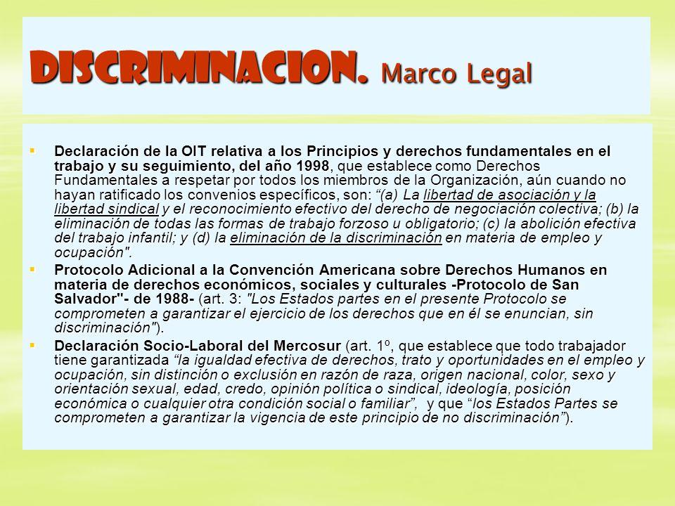DISCRIMINACION. Marco Legal Declaración de la OIT relativa a los Principios y derechos fundamentales en el trabajo y su seguimiento, del año 1998, que