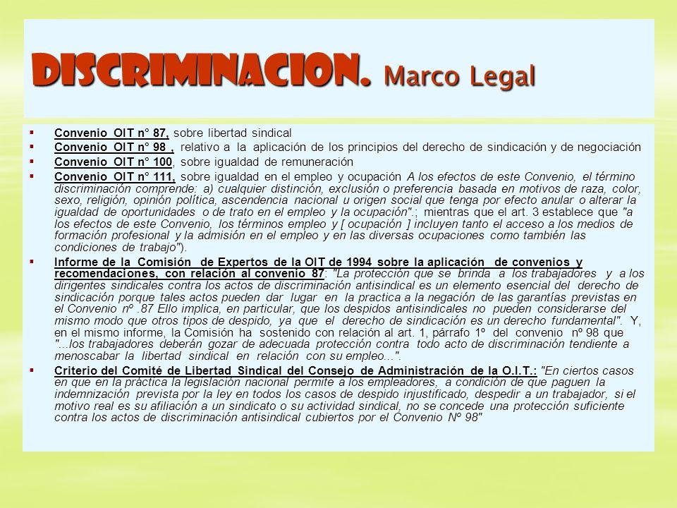 DISCRIMINACION. Marco Legal Convenio OIT n° 87, sobre libertad sindical Convenio OIT n° 87, sobre libertad sindical Convenio OIT n° 98, relativo a la
