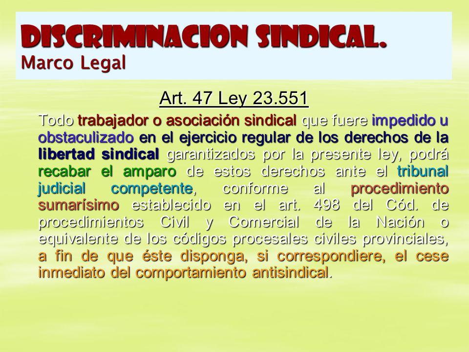 DISCRIMINACION SINDICAL. Marco Legal Art. 47 Ley 23.551 Todo trabajador o asociación sindical que fuere impedido u obstaculizado en el ejercicio regul