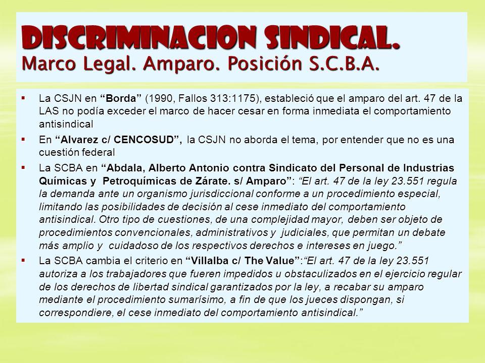 DISCRIMINACION SINDICAL. Marco Legal. Amparo. Posición S.C.B.A. La CSJN en Borda (1990, Fallos 313:1175), estableció que el amparo del art. 47 de la L