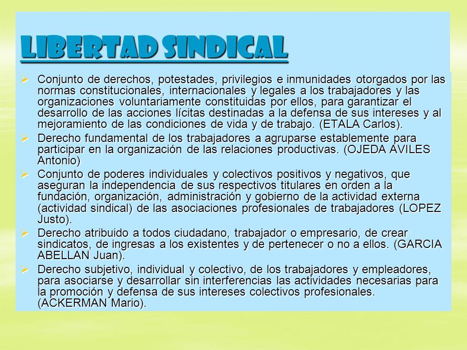 Libertad sindical Conjunto de derechos, potestades, privilegios e inmunidades otorgados por las normas constitucionales, internacionales y legales a l