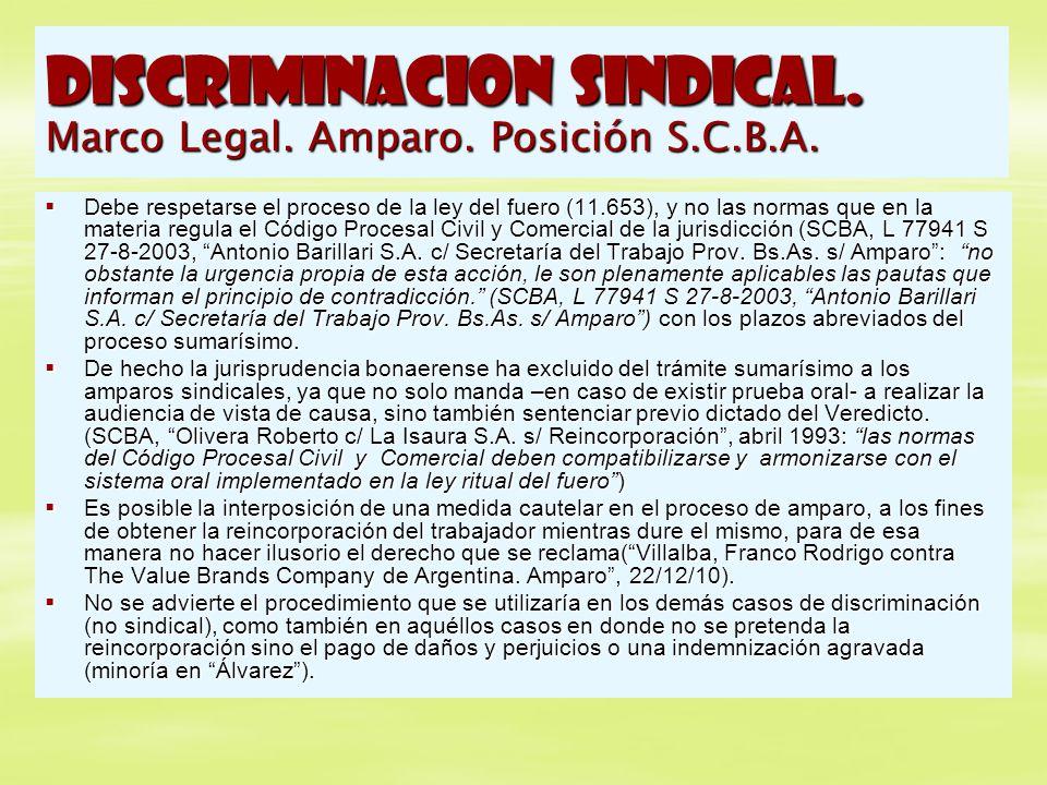 DISCRIMINACION SINDICAL. Marco Legal. Amparo. Posición S.C.B.A. Debe respetarse el proceso de la ley del fuero (11.653), y no las normas que en la mat