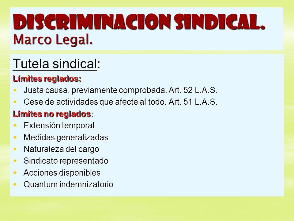 DISCRIMINACION SINDICAL. Marco Legal. Tutela sindical: Límites reglados: Justa causa, previamente comprobada. Art. 52 L.A.S. Justa causa, previamente