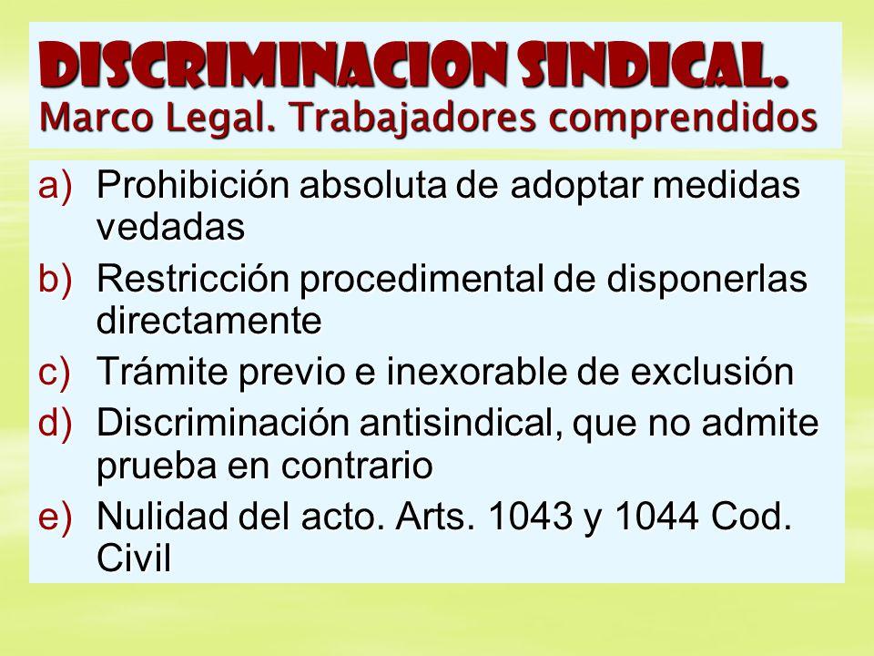 DISCRIMINACION SINDICAL. Marco Legal. Trabajadores comprendidos a)Prohibición absoluta de adoptar medidas vedadas b)Restricción procedimental de dispo